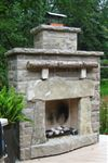 Ebel natural bed building stone fireplace