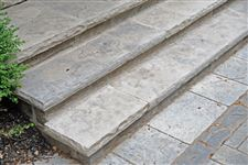 Eramosa sawn & flamed coping as stair treads