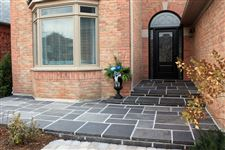 Ebel Black square cut flagstone front entrance steps and patio