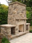 Ebel natural bed building stone outdoor fireplace with woodboxes