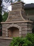 Outdoor fireplace built with Eramosa sawn bed building stone