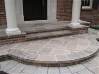 Front entrance stairs from Ebel Mocha Ridge square cut flagstone and coping