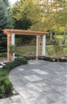Curved Ebel Black square cut flagstone patio
