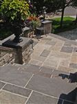 Ebel Beige square cut flagstone patio with Ebel Black stair treads