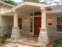 Wiarton square cut flagstone front entrance with Ebel natural bed building stone pillars