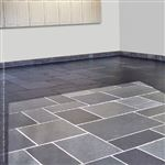 A garage floor paved with Imported Black square cut flagstone