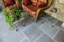 India Slate Grey square cut flagstone porch floor