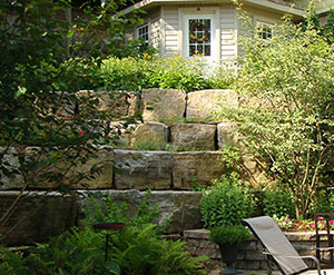 backyard Armourstone tiered retaining wall