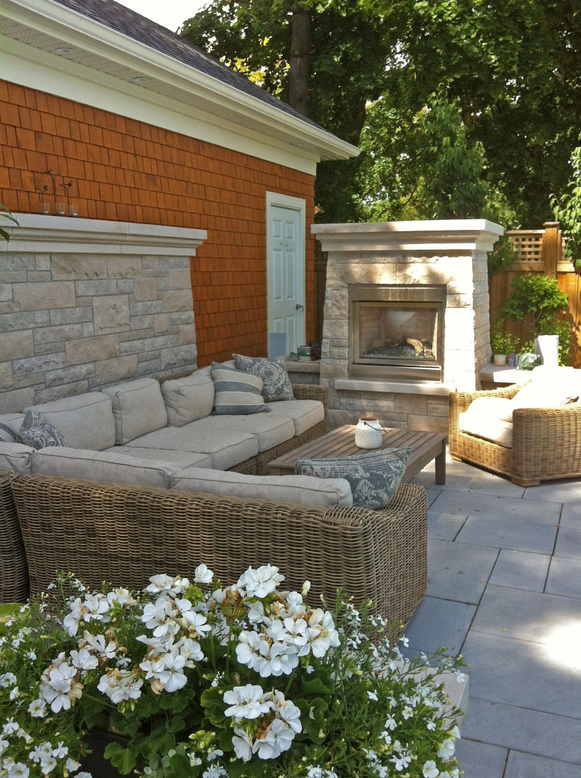 ... Countertop And Bench Seat Outdoor Fireplace And Accent Wall With Custom Indiana  Limestone Standard Buff Cap, Hearth U0026 Mantel